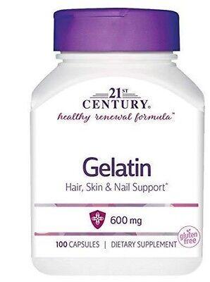 21st Century Gelatin 600mg Capsules 100ct -Expiration Date 11-2020- (Gelatin 100 Capsules)
