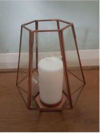 2 x copper hexagonal lanterns - wedding decoration, home decorative accessories