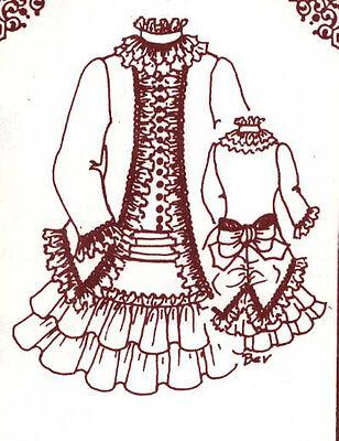 "15-16""ANTIQUE FRENCH BRU/JUMEAU-GERMAN CHILD DOLL LOW WAIST DRESS&JACKET PATTERN"