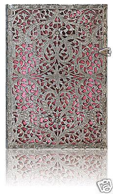 Paperblanks Writing Blank Lined Midi Size Journal Silver Filigree Blush Pink 5x7