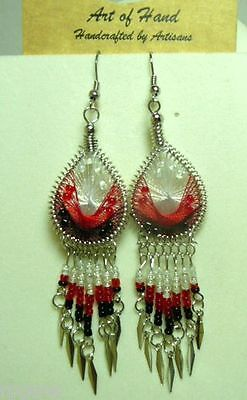 Woven Dreamcatcher Earrings With Dangle. Many Colors You Pick Pink Blue Red