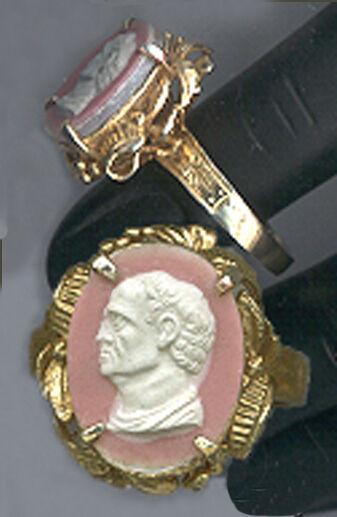 V.Fine CAMEO from Georgian Tassie Intaglio:Roman/Greek Man 18k Vermeil 6.75 RING