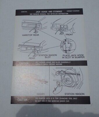Mopar 72 Charger / Coronet Jack Instructions Decal NEW 3595703 DD0082