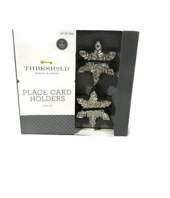 Threshold Snowflake Place Card Holders Metal Silver Set 4 Table Decor New - Snowflake Wedding Centerpieces