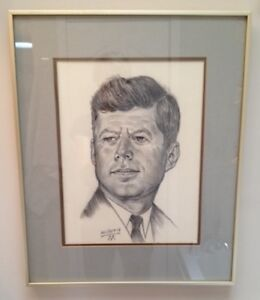 Vintage signed artist drawn portrait of John F Kennedy framed