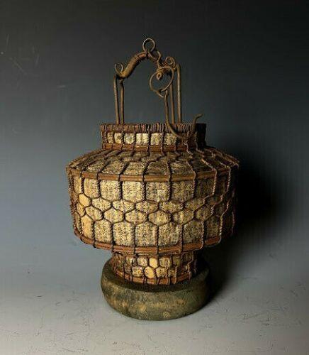 "Old Japanese Small Hanging Lantern ""Tsuridoro"" Handmade Iron & paper H.7inch"
