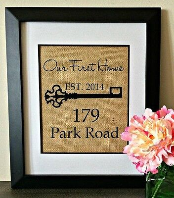 Personalized Burlap Print HOME ADDRESS Art Established Sign Housewarming GIFT Home Address Sign Art