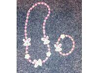 Bunny necklace and bracelet set