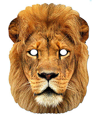 Löwe Tier 2D Karten Party Gesichtsmaske Kostüm Safari Zoo Thema Big Cat (Safari Löwen Kostüme)