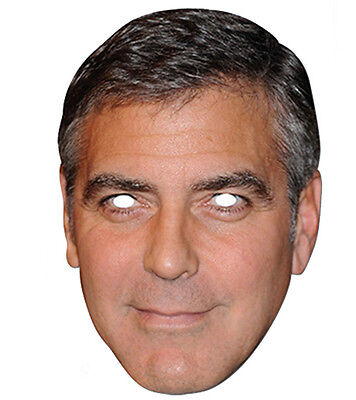 George Clooney Promi 2D Karten Party Gesichtsmaske Kostüm Hollywood - Hollywood Masken Kostüm