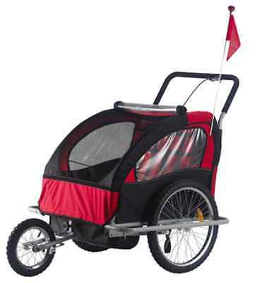 2 In 1 Twin Baby Kids Bicycle Bike Trailer Child Baby Stroller
