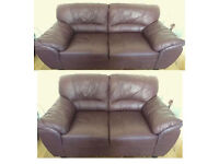 very good condition Brown leather 3+2 seater sofas