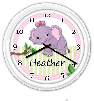SILENT Baby Nursery Wall Clock PERSONALIZED Elephant Girl Jungle GREAT (Baby Nursery Wall Clock)