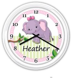 Baby Nursery Wall Clock PERSONALIZED Elephant Girl Jungle GREAT GIFT