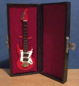 Miniature Electric Red Washburn Guitar Ornament Music Instrument Musical Box LGW