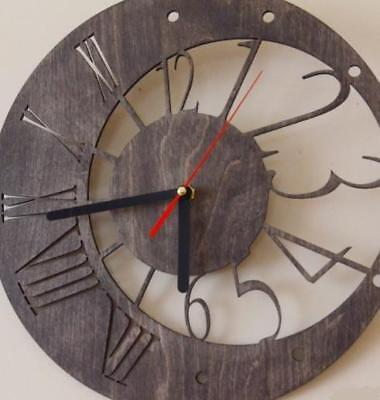 Decorative Wall Clocks Home Gift Engraved Wooden Silent Indoor Rustic Country