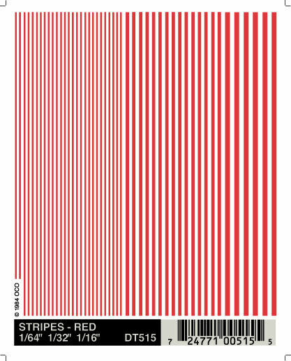 Woodland Scenics Stripes Red Dry Transfer Decals DT515