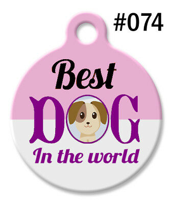 Personalized Pet ID Tags for Dog & Cat, Custom Pink BEST DOG In The World