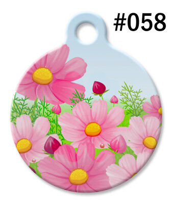 Pet ID Tags for Dog & Cat   Personalized Custom Beautiful Pink DAISY Flower -