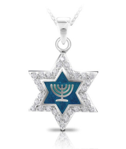925 Sterling Silver & CZ Star of Magen David Pendant with Menorah - Jewish Gift