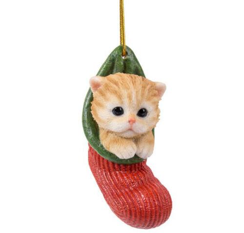 New STOCKING PUPS Ornament TABBY CAT KITTEN TAN Christmas Hanging Decor Figure