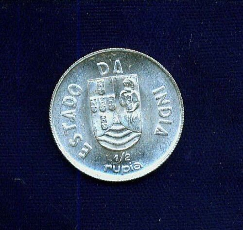 INDIA  PORTUGUESE  1936  SILVER  HALF-RUPIA  COIN  BRILLIANT UNCIRCULATED, NICE!