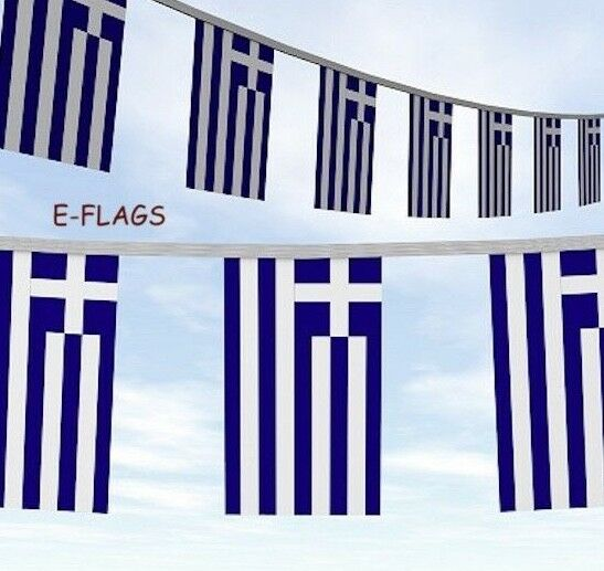 10 Metres 33ft Greece Greek Flag Bunting ΣΗΜΑΊΑ ΤΗΣ ΕΛΛΆΔΑΣ