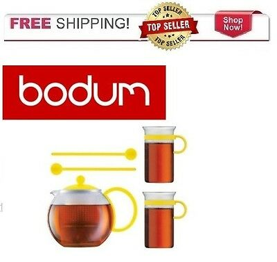 Bodum Assam Tea Pot Set 2 Pane Coffee Tea Mugs 2 Spoons YELLOW FREE SHIPPING