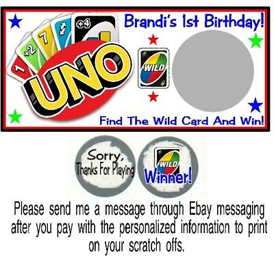 10 UNO Playing Cards Game Birthday Party Baby Shower Scratch Off Cards Favors](Uno Birthday Party)