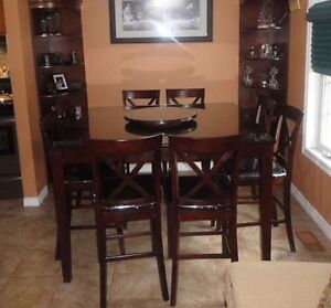10 piece pub table with custom glass top..