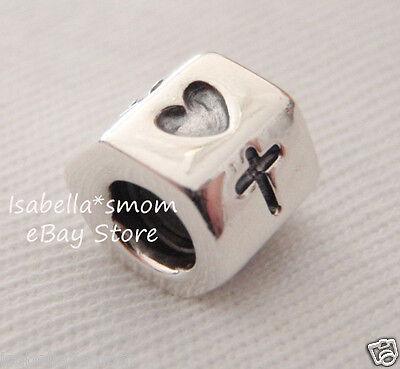 - Authentic PANDORA Silver FAITH~HOPE~LOVE Heart/Anchor/Cross Charm 790119 NEW