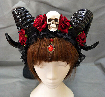 Devil Horns Comb Horn Headband Halloween Skull Gothic Floral Hair Accessories](Halloween Devil Horn Headband)