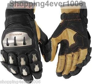 Icon Timax 2 Short Design Titanium Alloy Leather Kangaroo Gloves ATV Motorcycle