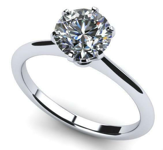 Modern Solitaire 1 Ct Round Cut Diamond Ring 18 Kt White Gold Agi Certified