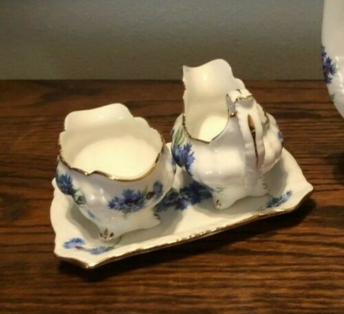 Hammersley Blue Cornflower Blue Creamer Sugar Bowl Tray EUC
