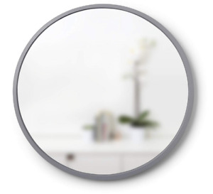 """Umbra Hub 24"""" Round Wall Mirror with Rubber Frame - Grey"""