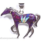 Purple Turquoise & Fire Opal Inlay 925 Sterling Silver Horse Pendant Necklace