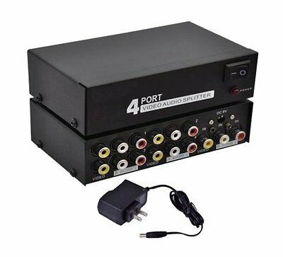 RCA Composite 4Way Port 1x4 1In 4Out Audio Video Distribution Amplifier Splitter