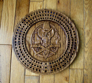 CNC Carved Cowboy Skull Solid Oak Crib Board