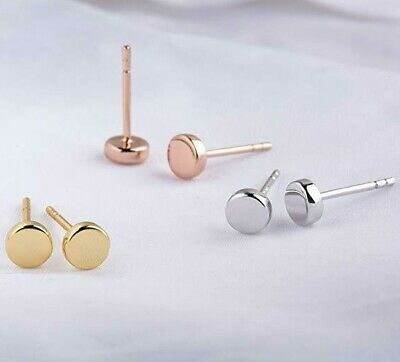 Flat Minimal Circle Stud Earrings in Rose Gold, Silver, Gold Options ITALY