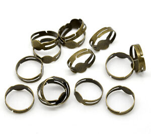 10 x Antique Bronze Adjustable Ring Bases Ring Blanks with 8mm Flat Pad