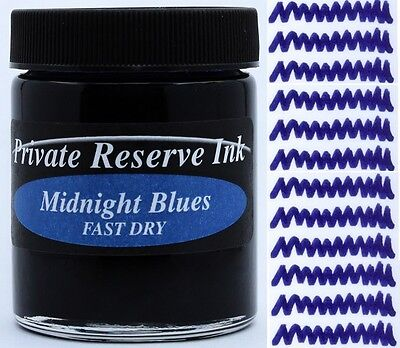 PRIVATE RESERVE - Fountain Pen Ink Bottle - MIDNIGHT BLUES FAST DRY -  66ml