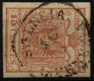 LOMBARDEI-VENETIEN 1850 15C, MP, Type III. Sta.LUCIA/in VENEZIA. Schön!