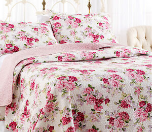 3-Piece Queen Reversible Rose Floral Quilt Set Laura Ashley Pink White Bedding