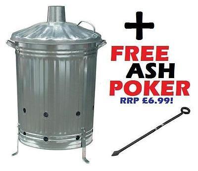 Large 90L Incinerator Burning Fire Bin Rubbish Paper Leaves Burner + FREE Poker