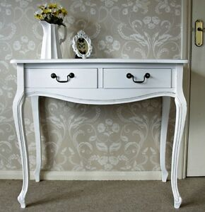 blanc deux tiroir console table coiffeuse chambre couloir. Black Bedroom Furniture Sets. Home Design Ideas