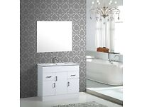 WHITE WASHBASIN CABINET SELL WITH MIRROR, STOCK CLEARANCE , BRAND NEW IN ORIGINAL PACKAGE