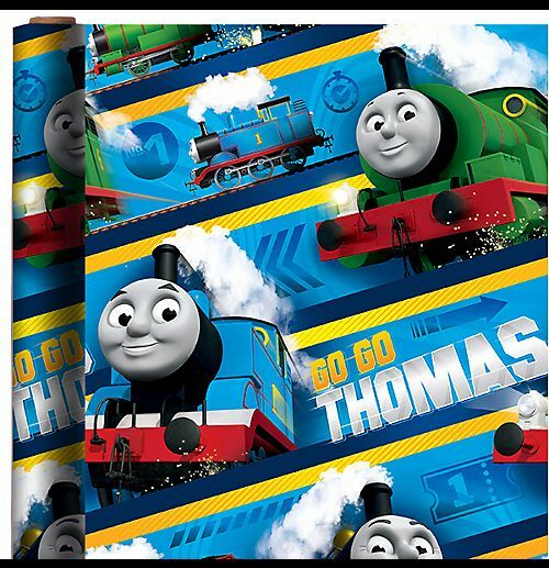 thomas the train wrapping paper Thomas the tank engine thomas birthday cards & gift wrap  thomas the tank - birthday card with badge birthday boy  a thomas birthday card with a birthday boy badge price £189   two sheets of gift wrapping paper approx 50cm x 695cm and two labels price £195.