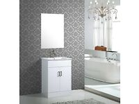 white washbasin cabinet sell with mirror, store clearance, brand new with original package