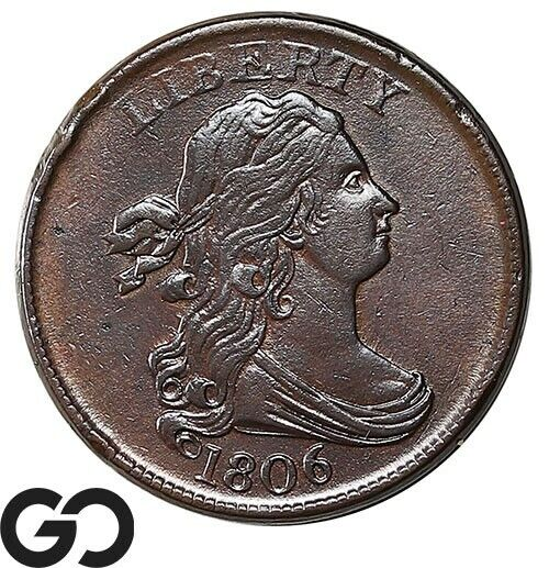 1806 Half Cent, Draped Bust, RARE This Nice, Choice AU+ Early Copper, Very Nice!
